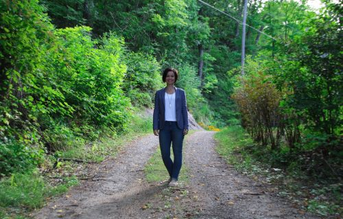 Andrea Parker on forest path