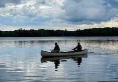 Andrea and Mel in a canoe